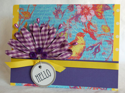 Hello with purple gingham flower