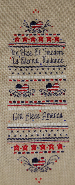 Liberty sampler cross stitch July09