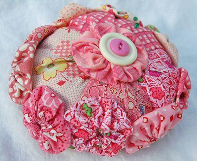 Pink yo yo pincushion