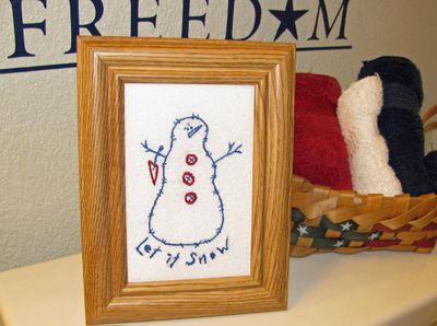 Let it snow bluework snowman