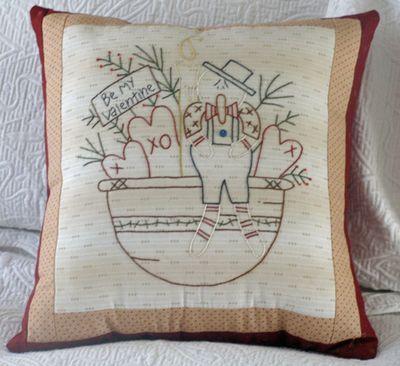 Snowman valentine pillow