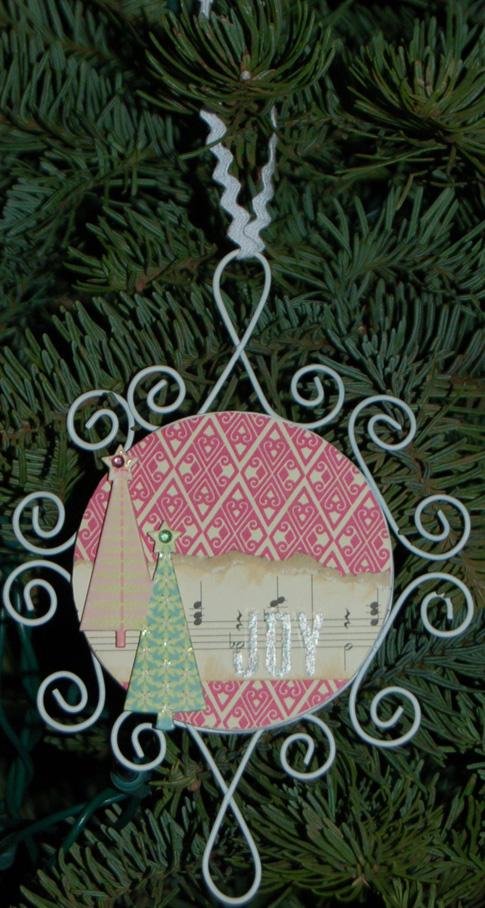 Joy pink ornament